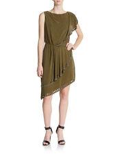 Deep V Back HAUTE HIPPIE Silk Dress Military Green Gunmetal $495 NWT Medium