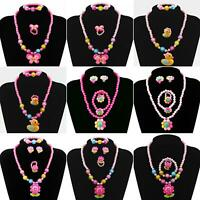 Kids Girls Child Pearl Flower Shape Necklace Bracelet Ring Ear Clips Set Jewelry