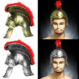 Men Medieval Armour King Roman Plastic Helmet Removable Red Crested Samurai Hat