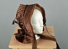 Vtg Women's Antique Early 1900s Brown Bonnet Style Hat Edwardian