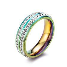 6MM Multi-Color/Gold Women's Double Rowes White CZ Titanium Steel Ring Size 5-9