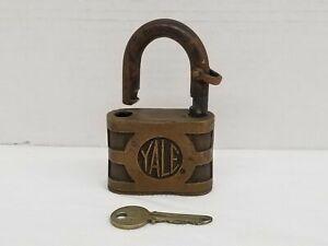 Vintage Large Yale Padlock P36 Brass Lock With Key Heavy 1lb Shelf D1