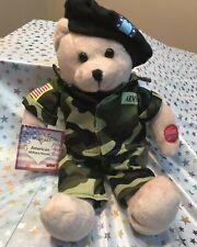 "11"" Chantilly Lane Plush Musical ""American Hero's"" Army Bear New W Tag"