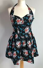 HELL BUNNY Size XS Black Halter Top Japanese Skull Butterfly Summer Goth Emo