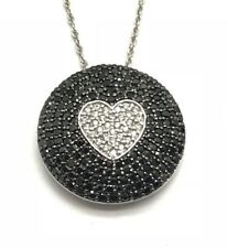 Sterling Silver Round Circle Black Onyx - CZ Heart Love Cluster Fancy Necklace