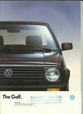 Vw volkswagen golf 3/5 portes, cl 3/5 portes, gl, diesel/turbo diesel brochure 1989/90
