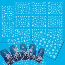 11PCS Christmas Nail Art Set Water Transfer White Snow Snowman Nail Sticker