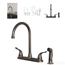 Kitchen Sink Faucet w/ Side Spray Classice Bronze 2 Handle High Arc 4 Hole Spout