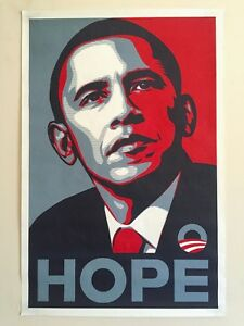 """RARE SHEPARD FAIREY """" OBAMA HOPE """" 2008 DNC CAMPAIGN ORIGINAL LITHO PRINT POSTER"""