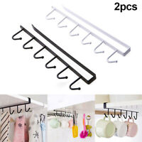 2PC Kitchen Storage Rack Cupboard 6 Hooks Under-Cabinet Hanger Rack New