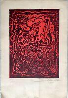 EXQUISITE ABSTRACT ART LINOLEUM CUT ORIGINAL RARE SIGNED ARTWORK HANS BURKHARDT