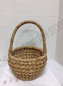 Pottery Barn Woven Easter Seagrass Chunky Round Large Spring Egg Basket 12x17