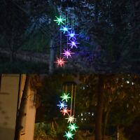 LED Solar Powered Sea Urchin Wind Chimes Light Home Garden Hanging Lamp Decor