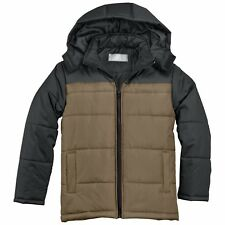 KC Collections Boys' Striped Hooded Puffer Olive Black L 14/16 Windproof New