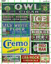 1037 DAVE'S DECALS FLOUR CREMO OWL CIGAR ICE RED MAN BUILDING SIGNS ADVERTISING