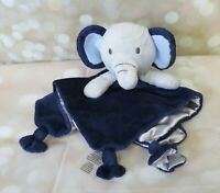 Cuddle Time Elephant Lovey Plush Security Blanket Baby Toy Navy Blue  Knotted