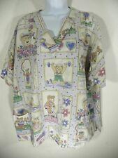 Womens XL Scrub Top Teddy Bear Exercise Health Nurse Uniform Medical Cotton