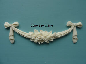 Decorative rose swag bow resin furniture moulding applique furniture onlay RSB1