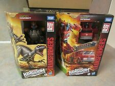 TRANSFORMERS KINGDOM WAR FOR CYBERTRON VOYAGER LOT OF 2 INFERNO/DINOBOT
