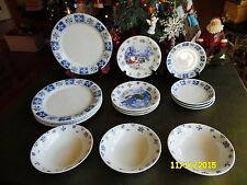 15 HOME TRENDS CHRISTMAS WINTERVILLE BLUE & WHITE SNOWFLAKES DINNERWARE