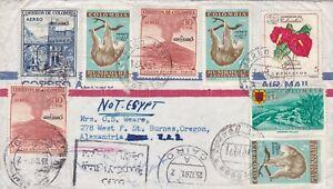 Columbia 1961 cover to Alexandria Oregon missent to Egypt
