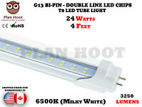 T8 G13 4 FEET 24W DOUBLE LINE CHIPS 6500K CLEAR LENS LED REPLACEMENT TUBE LIGHT