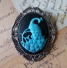 HUGE KiTsCh GOTH ViCtOrIaN ViNtAgE SILVER BLACK BLUE PEACOCK CAMEO BROOCH PIN