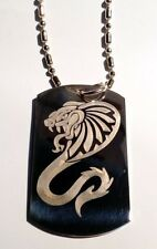 Military Dog Tag Metal Chain Necklace King Cobra Venom Tribal Snake Serpent New