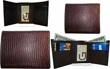 Lot of 3 Italian Style Lizard skin Printed Leather Man's Brown Trifold wallet Bn