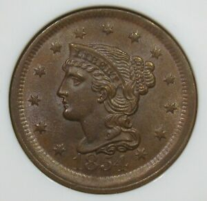 1854 Braided Hair Large Cent NGC MS65BN N-11