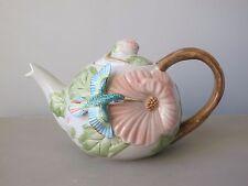 Fitz and Floyd Hummingbird Sculpted Teapot & Lid 48 Oz. 1987