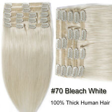 Thick Dense 200G+ Clip in Remy Human Hair Extensions Double Weft Full Head SU632
