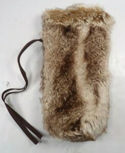 Pottery Barn Faux Fur Wine Bag Luxurious Faux Suede Strap Caramel Ombre #9861