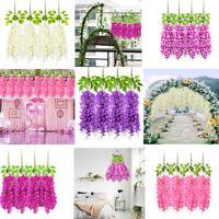 4pcs Artificial Wisteria Flowers Hanging Wisteria Vine Bush Wedding Home Decor