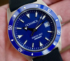Oceanica Manta Ray Automatic Dive Watch Miyota 9015 Blue Dial