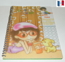 "CAHIER SPIRALE COUVERTURE PLASTIFIE PAGE RAYE & DATE ""GOOD LUCK""  NEUF"
