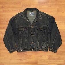 Blue Revolution Denim Distressed Wash Jean Jacket Dark Blue Mens Medium