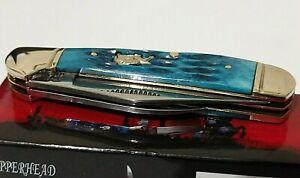 BULLDOG BRAND HUNTING POCKET KNIFE FIGHTING BULLDOGS LOCKING COPPERHEAD BLUE !