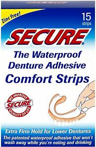 Secure Waterproof Denture Adhesive 15 Strips, Clearance for damaged box