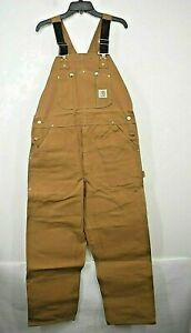Vtg NOS Carhartt Mens Cotton Duck Bib Overall Unlined R01 Double Knees 30 x 36