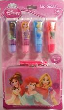 Lip Gloss Gel Set DISNEY PRINCESSES Glitter Fruit Flavor Lunch Box Carry Tin S2