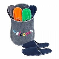 GUEST Felt SLIPPERS Washable Spa Hotel Carpet Closed Toe Set 4 Pairs Mens Womens
