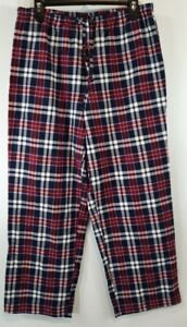 LL Beans Womens Flannel Pants Medium Petite Red White Blue Plaid Elastic PJs