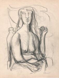 Modernist Figures, 2 Orig Drawings, John Ulbricht, Listed,1946, signed