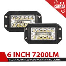 7200LM 6Inch Flush Mount LED Pods Spot Flood Work Light Offroad Driving Lights
