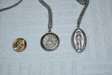 Lot of (2) Religious Christian Pendants THEDA Sterling St.Jude & SterFilled Mary