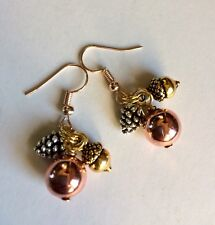 Multitone Pine Cone and Acorn Antique  Charm Earrings,On Rose-gold Hooks