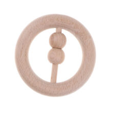 Wooden Baby Rattle Montessori Teething Toy Newborn Infant Ring Beads Rattles