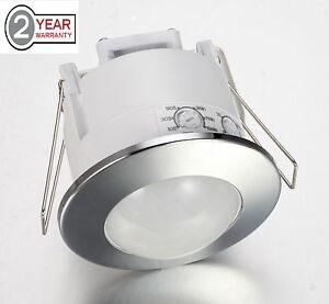 360 Degree Recessed PIR Ceiling Occupancy Motion Sensor Detector Light Chrome