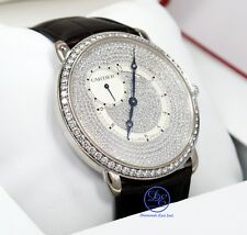 Cartier Ronde Louis WR007003 18K White Gold 42mm Fact Diamonds BOX/PAPERS *MINT*